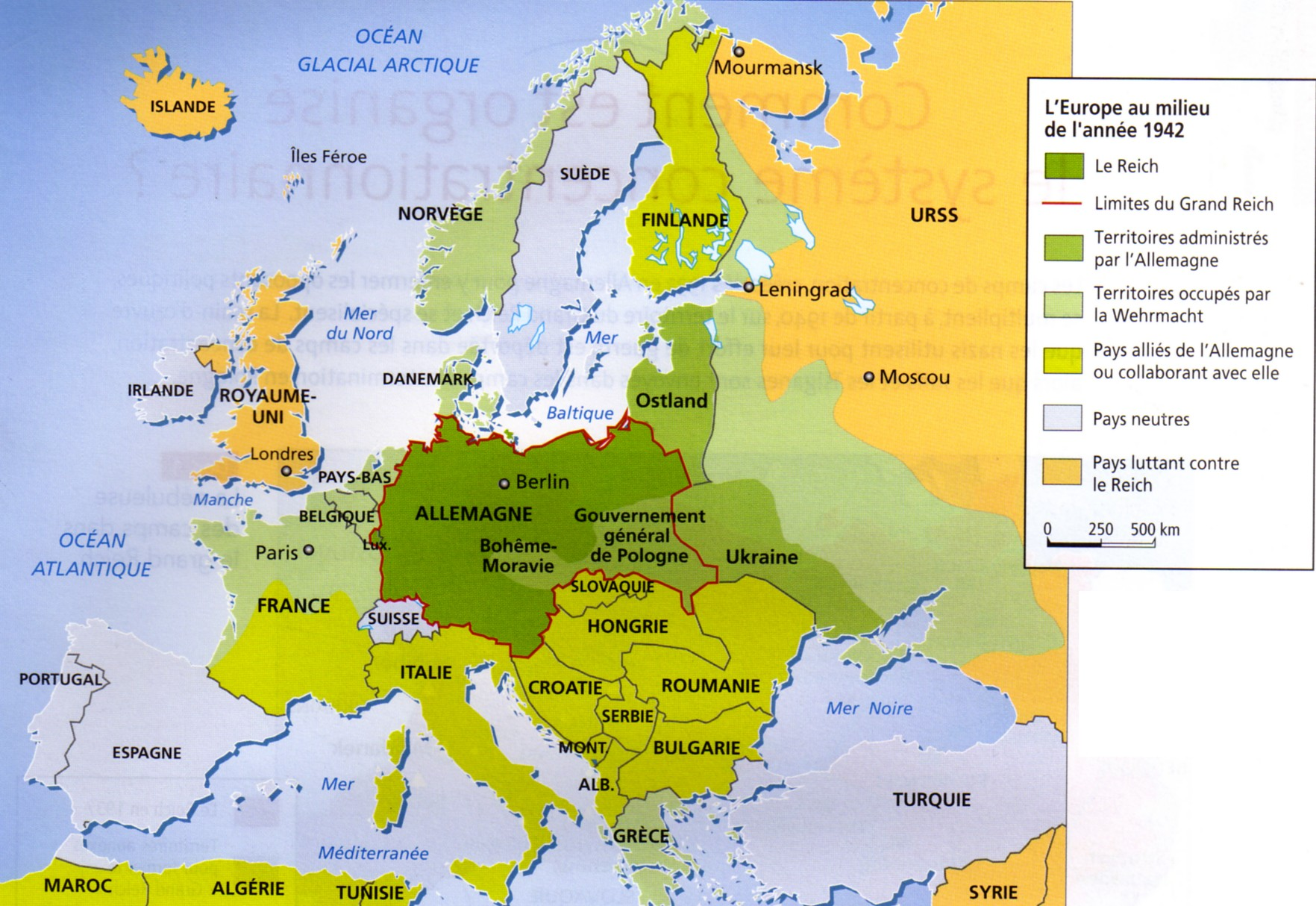 Carte Occupation Allemande Europe.L Idee Europeenne Devoyee Par L Allemagne Nazie
