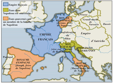 Carte De Leurope Sous Napoleon.Document Sans Titre